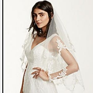 David's Bridal Two Tier Pointed Lace Edged Veil